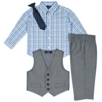 Nautica® Size 12M 4-Piece Shirt, Pants, Vest and Tie Set in Grey