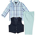 Izod® Size 12M 4-Piece Shirt, Pants, Vest and Tie Set in Green