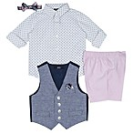 Nautica® Size 18M 5-Piece Shirt, Shorts, Vest, Hankie and Tie Set in Pink