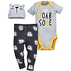 Gerber® Size 0-3M Tiger 3-Piece Bodysuit, Pant and Hat Set