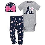 Gerber® Onesies® Newborn 3-Piece Daisy Bodysuit, Pant and Hat Set in Grey