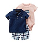 carter's® Size 3M 3-Piece Polo Shirt, Bodysuit and Plaid Short Set in Navy