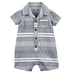 carter's® Size 12M Striped Polo Romper in Blue