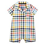 carter's® Size 12M Plaid Polo Romper in Multicolor