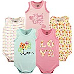 "Luvable Friends® Size 9-12M 5-Pack ""Love"" Sleeveless Bodysuits in Pink"