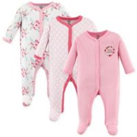 Luvable Friends® Size 3-6M Floral 3-Pack Footies in Pink