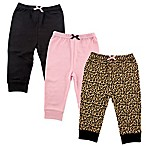 Luvable Friends® Size 12-18M 3-Pack Leopard Pants in Black/Pink