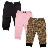 Luvable Friends® Size 0-3M 3-Pack Leopard Pants in Black/Pink