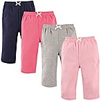 Luvable Friends® Size 6-9M 4-Pack Solid Pants in Pink/Black