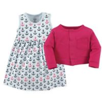 Luvable Friends® Size 0-3M 2-Piece Anchor Dress and Cardigan Set
