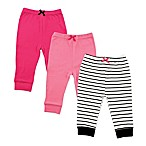 Luvable Friends® Size 6-9M 3-Pack Stripe Pants in Black/Pink
