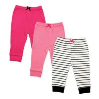 Luvable Friends® Size 9-12M 3-Pack Stripe Pants in Black/Pink