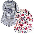 Touched by Nature Size 0-3M Long-Sleeve Floral Stripe 2-Pack Organic Cotton Dresses