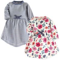 Touched by Nature Size 5T Long-Sleeve Floral Stripe 2-Pack Organic Cotton Dresses