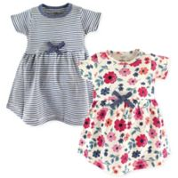 Touched by Nature Size 9-12M Floral Stripe 2-Pack Organic Cotton Dresses in Blue