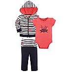 Yoga Sprout Size 3-6M 3-Piece Wild Rose Jacket, Bodysuit and Pant Set in Coral/Black