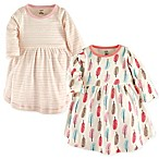 Touched by Nature Size 9-12M Feathers 2-Pack Organic Cotton Dresses in Coral