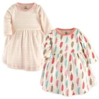 Touched by Nature Size 2T Feathers 2-Pack Organic Cotton Dresses in Coral