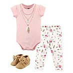 Little Treasure Size 3-6M Feathers Bodysuit, Pant, and Shoe Set in Pink