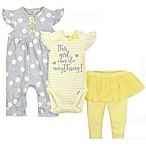 Gerber Onesies® Newborn 3-Pack Daisies Coverall, Bodysuit, and Pant Set in Grey/Yellow