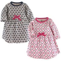 Touched by Nature Size 3-6M 2-Pack Trellis Long Sleeve Organic Cotton Dresses in Pink/Black
