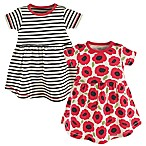 Touched by Nature Size 9-12M 2-Pack Poppy Short Sleeve Organic Cotton Dresses in Black/Red