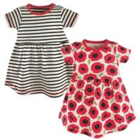 Touched by Nature Size 2T 2-Pack Poppy Short Sleeve Organic Cotton Dresses in Black/Red