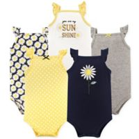 Hudson Baby® Size 9-12M 5-Pack Daisy Flutter Sleeve Bodysuits in Yellow