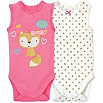Gerber® Size 0-3M 2-Pack Fox and Hearts Sleeveless Bodysuits in Pink/White