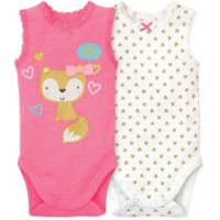Gerber® Newborn 2-Pack Fox and Hearts Sleeveless Bodysuits in Pink/White