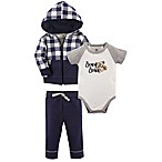 Yoga Sprout Size 0-3M 3-Piece Beary Brave Hoodie, Bodysuit, and Pant Set in Blue/Grey