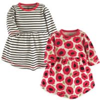 Touched by Nature Size 0-3M 2-Pack Poppy Long Sleeve Organic Cotton Dresses in Black/Red