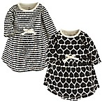 Touched by Nature Size 12-18M 2-Pack Hearts Long Sleeve Organic Cotton Dresses in White/Black