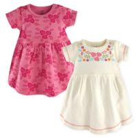 Touched by Nature Size 9-12M 2-Pack Bohemian Floral Short Sleeve Dresses in Pink/White