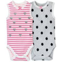 Gerber® Size 6-9M 2-Pack Sleeveless Bodysuits in Pink/Grey