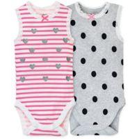 Gerber® Newborn 2-Pack Sleeveless Bodysuits in Pink/Grey