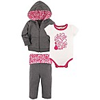 Yoga Sprout Size 0-3M 3-Piece Peacock Hoodie, Bodysuit and Pant Set in Heather Grey/Pink