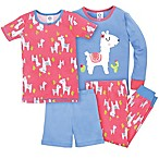 Gerber® Size 12M 4-Piece Llama Pajama Set in Blue/Pink