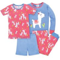 Gerber® Size 24M 4-Piece Llama Pajama Set in Blue/Pink
