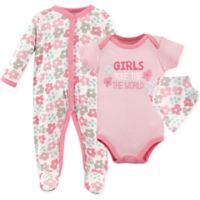 Luvable Friends® Size 0-3M 3-Piece Coverall, Bodysuit and Bandana Bib Set in Pink
