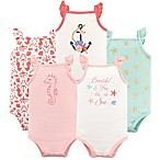 Hudson Baby® Size 0-3M 5-Pack Sea Sleeveless Bodysuits in Light Pink