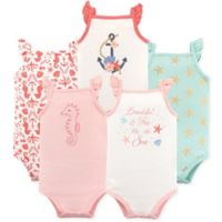 Hudson Baby® Size 9-12M 5-Pack Sea Sleeveless Bodysuits in Light Pink