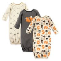 Hudson Baby® Size 0-6M 3-Pack Cotton Forest Infant Gowns in Beige