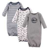 Hudson Baby® Size 0-6M 3-Pack Cotton Aviator Infant Gowns in Blue