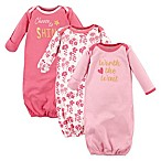 "Luvable Friends® Size 0-6M 3-Pack ""Worth the Wait"" Infant Gowns in Pink/Yellow"