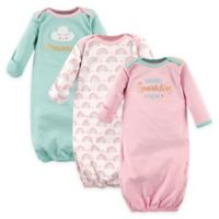 Luvable Friends® Size 0-6M 3-Pack Sparkling New Infant Gowns in Pink/Teal
