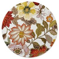 Nourison Fantasy Floral 7'6 Round Area Rug in Ivory