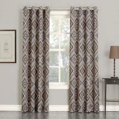 Sun Zero Josephine 84 Inch Room Darkening Grommet Top Window Curtain Panel In Stone