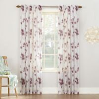 Keiko Floral 84-inch Rod Pocket Sheer Window Curtain Panel in Lavender