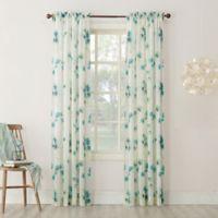 Keiko Floral 84-inch Rod Pocket Sheer Window Curtain Panel in Aegean